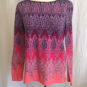 Talbots paisley long sleeve purple pink blue Sz S